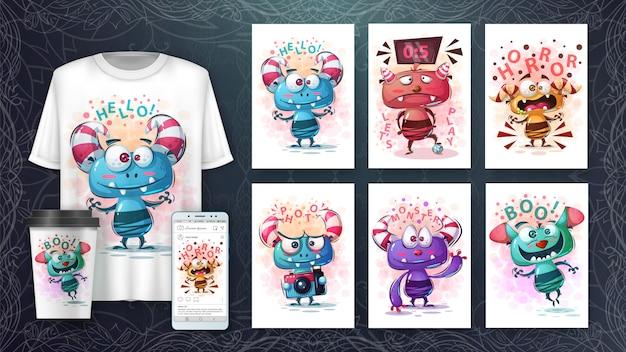 Affiche De Monstres Mignons Et Merchandising Vecteur Premium