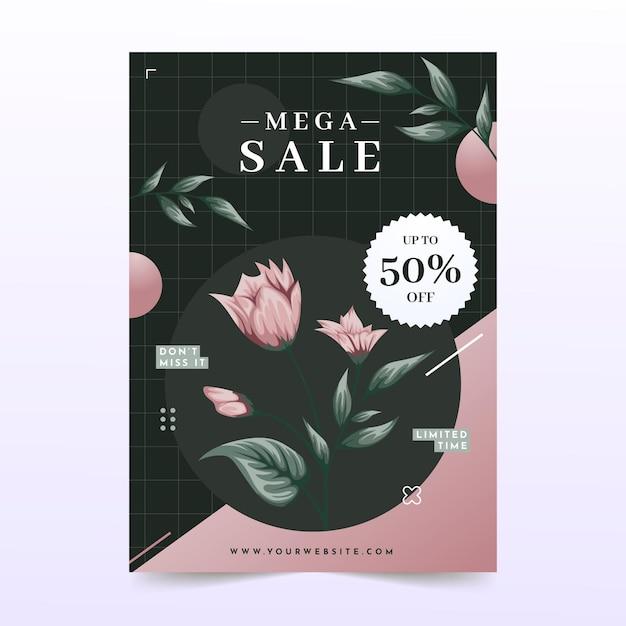 Affiche De Motif Floral De Méga Vente Vecteur Premium