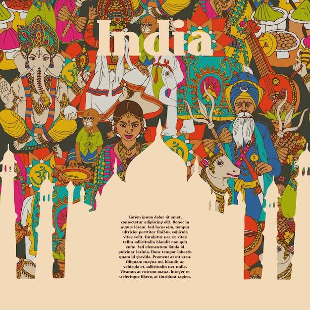 Affiche de motifs de symboles culturels de l'inde Vecteur gratuit