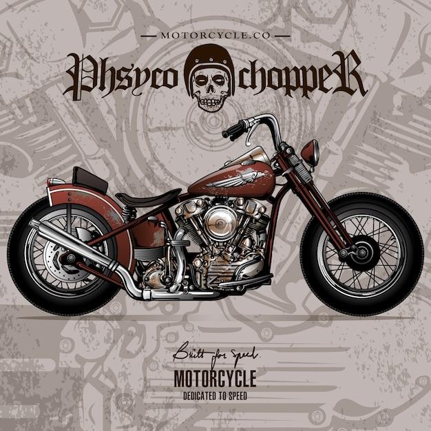 Affiche de moto vintage chopper Vecteur Premium