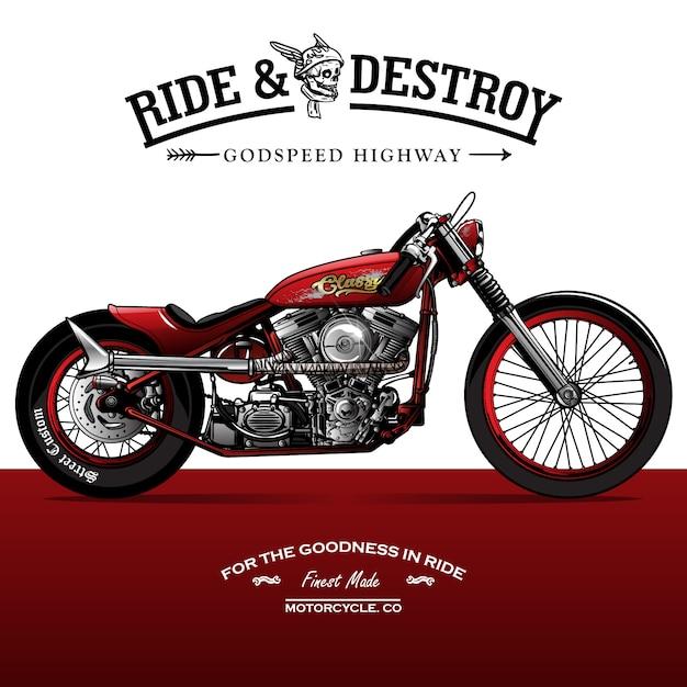 Affiche de moto vintage srambler Vecteur Premium