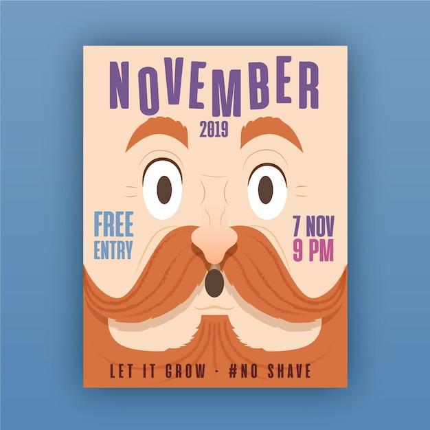 Affiche movember Vecteur gratuit