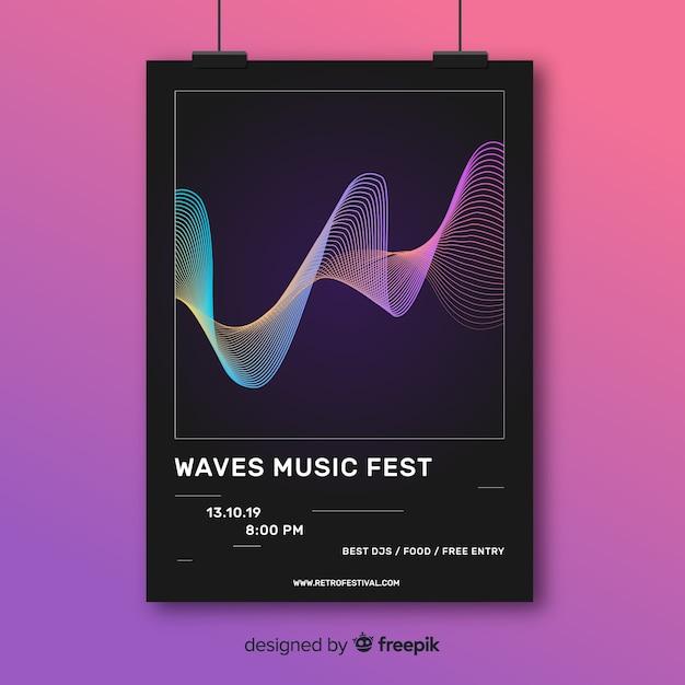 Affiche de musique abstraite colorée Vecteur gratuit