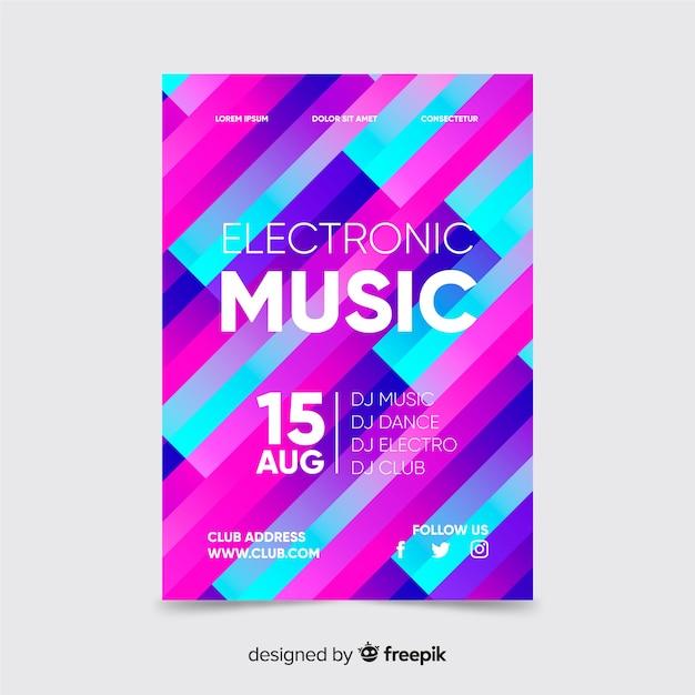 Affiche De Musique Colorée Avec Modèle De Formes Géométriques Vecteur gratuit