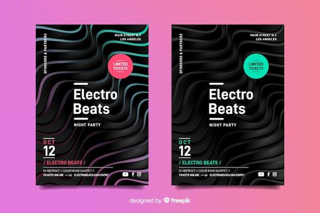 Affiche de musique électronique modèle abstrait effet 3d Vecteur gratuit