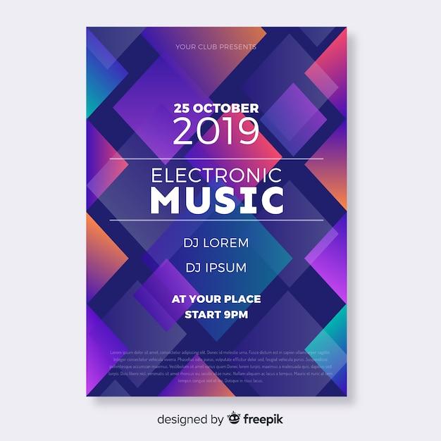 Affiche De Musique Géométrique Colorée Vecteur gratuit