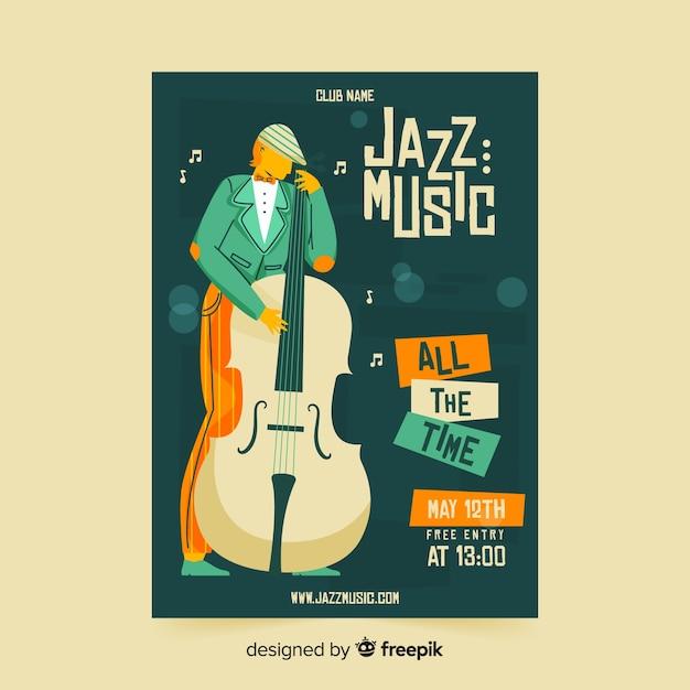 Affiche de musique jazz modèle dessiné à la main Vecteur gratuit