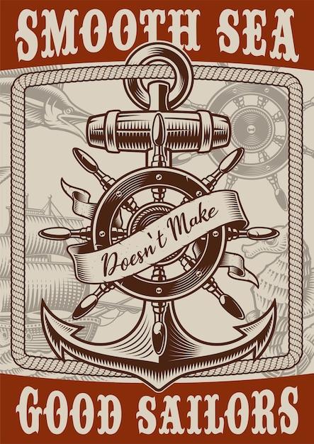 Affiche Nautique De Style Vintage Avec Ancre Sur Fond Blanc. Le Texte Est Dans Un Groupe Séparé. Vecteur Premium