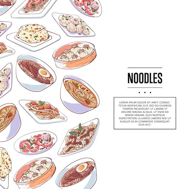 Affiche de nouilles chinoises avec des plats asiatiques Vecteur Premium