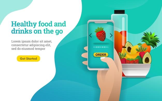 Affiche de nourriture et de boissons saines à emporter Vecteur Premium