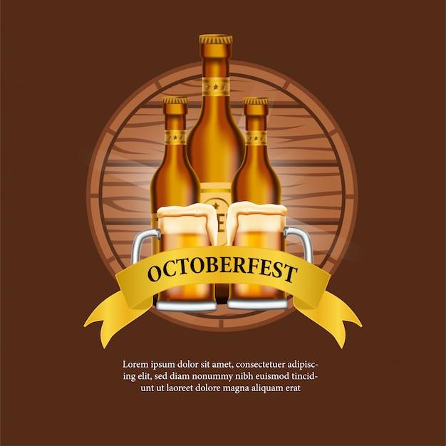 Affiche d'octobre avec verre à bière et bouteille Vecteur Premium