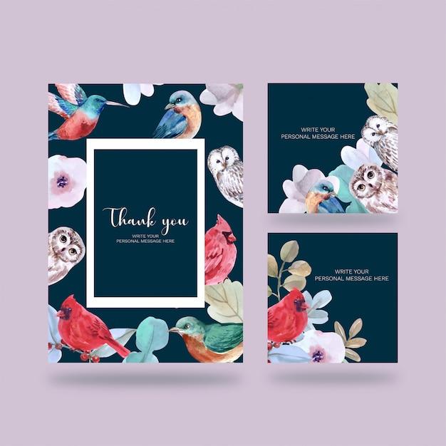 Affiche oiseaux, carte postale élégante pour la décoration Vecteur Premium