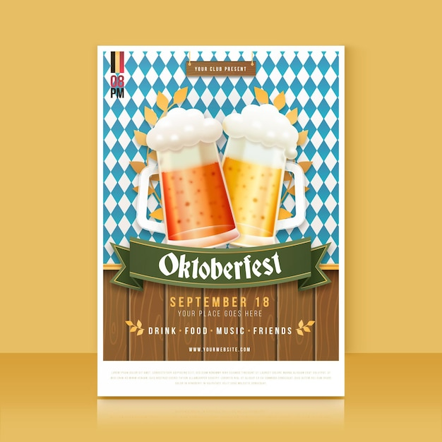 Affiche De L'oktoberfest Au Design Plat Vecteur gratuit