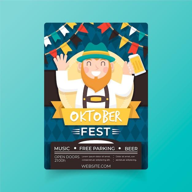 Affiche Oktoberfest Design Plat Vecteur gratuit