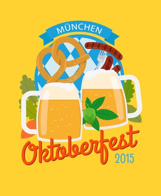 Affiche oktoberfest mug et bretzel à la bière Vecteur Premium