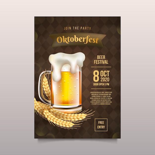 Affiche Oktoberfest Réaliste Vecteur gratuit