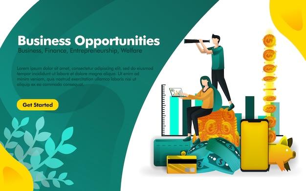 Affiche sur les opportunités de voir observant Vecteur Premium