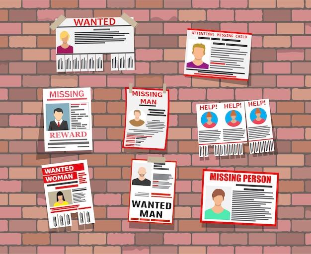 Affiche Papier Personne Recherchée. Annonce Manquante Vecteur Premium