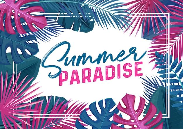 Affiche De Paradis D'été Tropical. Cadre Tendance Avec Fleurs Tropicales Et Feuilles. Vecteur Premium