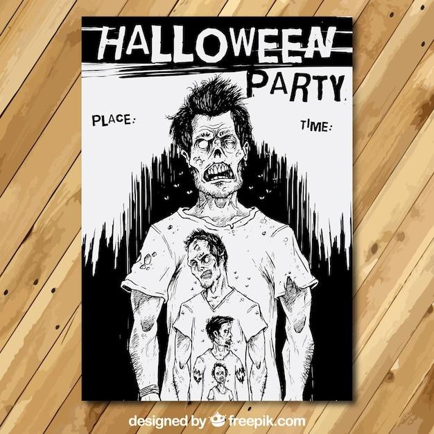 Affiche de partie de halloween avec des zombies Vecteur gratuit