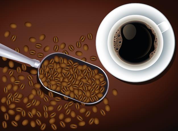Affiche De Pause Café Avec Tasse Et Graines Dans La Conception D'illustration Vectorielle Cuillère Vecteur Premium
