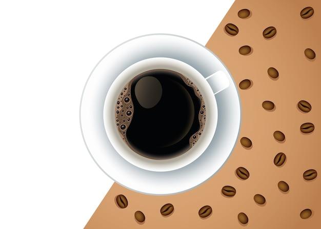 Affiche De Pause Café Avec Tasse Et Graines Vector Illustration Design Vecteur Premium