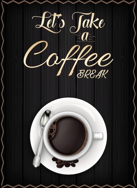 Affiche de pause café Vecteur Premium