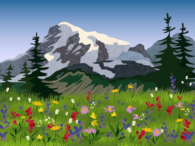 Affiche de paysage été alpin medow Vecteur gratuit