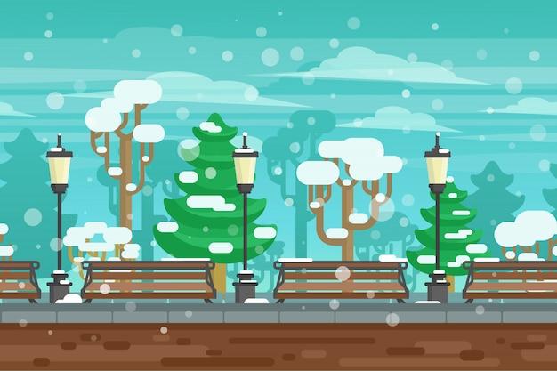 Affiche de paysage de jardin d'hiver Vecteur gratuit