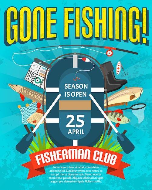 Affiche de pêche avec date d'ouverture de la saison Vecteur gratuit