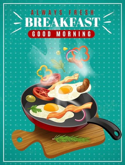Affiche de petit déjeuner frais Vecteur gratuit