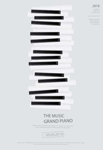 Affiche de piano à queue de musique Vecteur Premium