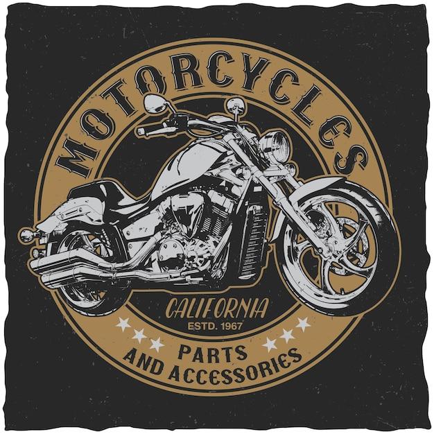 Affiche De Pièces Et Accessoires De Motos De Californie Pour T-shirt Sur Le Noir Vecteur gratuit