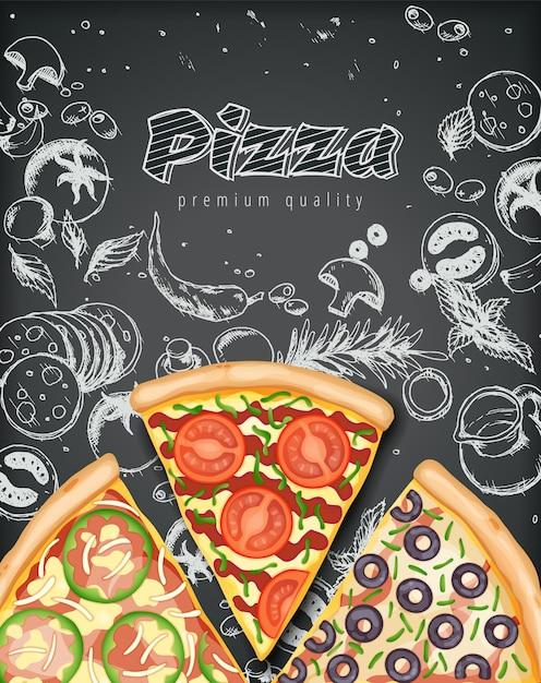 Affiche De Pizza. Annonces De Pizza Salée Avec Garnitures D'illustration 3d Sur Doodle De Craie De Style. Vecteur Premium