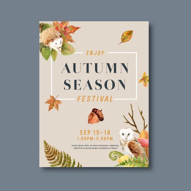 Affiche avec des plantes sur le thème de l'automne Vecteur gratuit