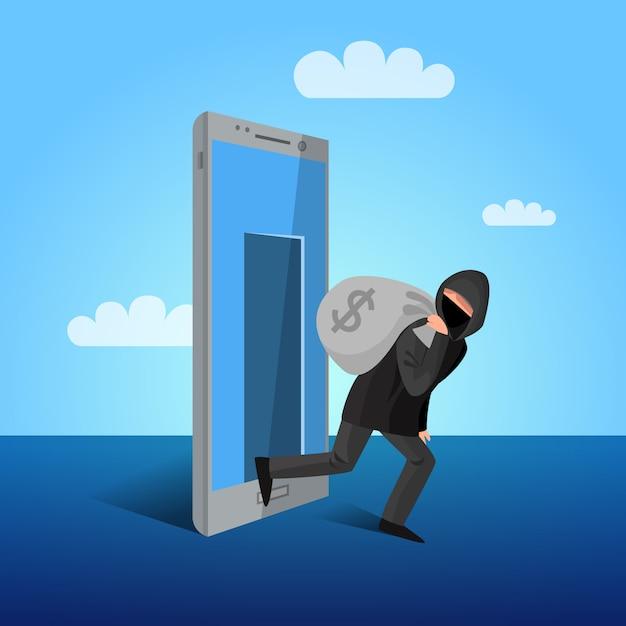 Affiche plate allégorique de fenêtre de piratage de smartphone Vecteur gratuit