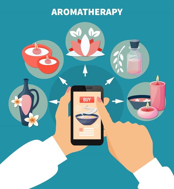 Affiche plate d'aromathérapie en ligne Vecteur gratuit