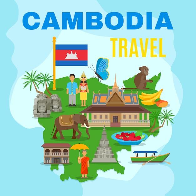 Affiche plate de carte de voyage culturel du cambodge Vecteur gratuit