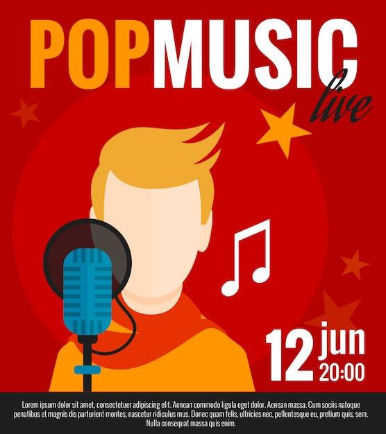 Affiche plate chanteuse pop Vecteur gratuit
