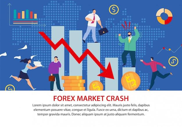 Affiche plate de crise économique du marché du forex Vecteur Premium