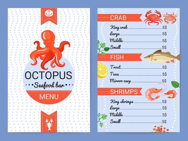Affiche plate de menu de fruits de mer Vecteur gratuit