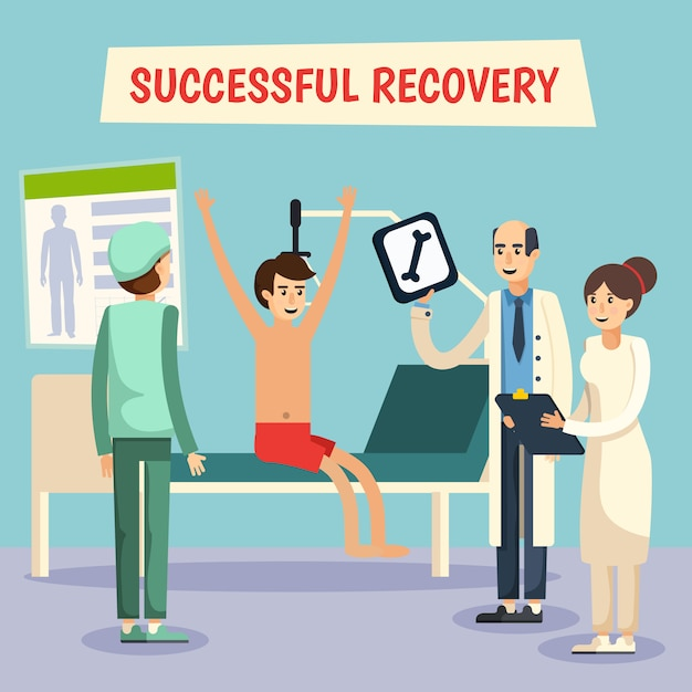 Affiche plate de patient de médecins d'hôpital Vecteur gratuit