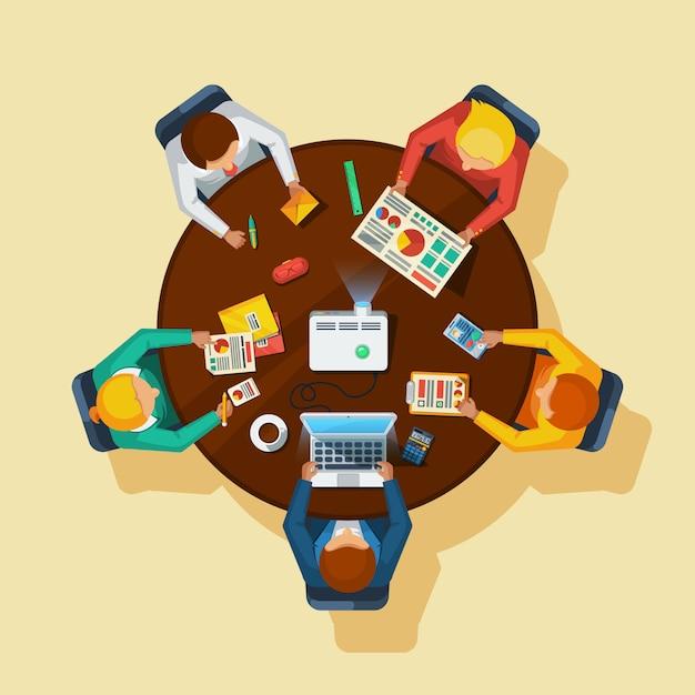 Affiche plate de la réunion d'affaires Vecteur gratuit