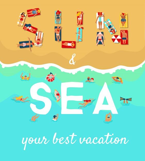 Affiche plate de vacances de plage d'été Vecteur gratuit
