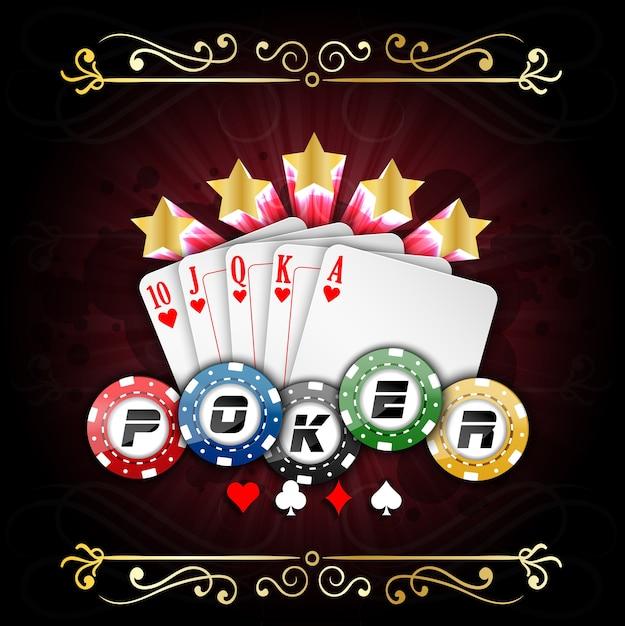 Affiche de poker avec cartes à jouer et jetons de poker Vecteur Premium