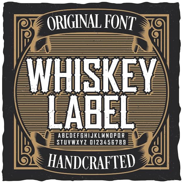 Affiche De Police D'étiquette De Whisky Vintage Avec Conception D'étiquette D'échantillon Dans Un Style Vintage Vecteur gratuit