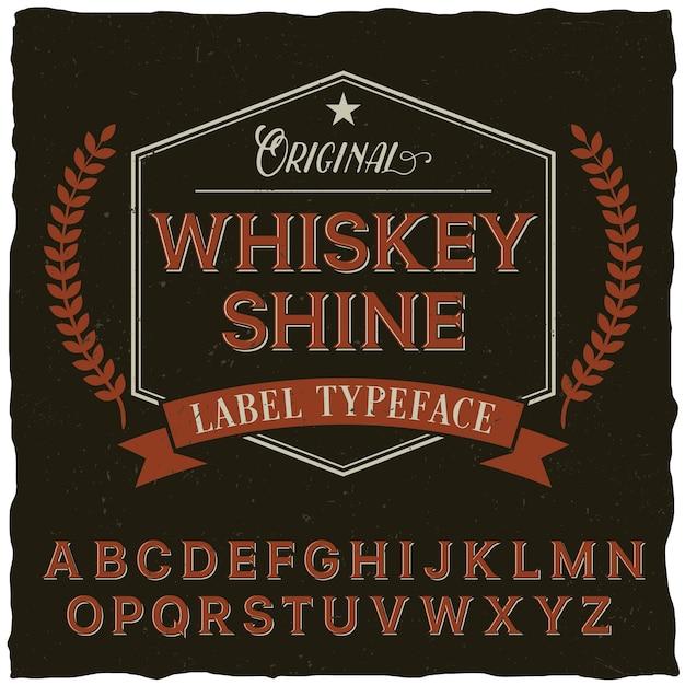 Affiche De Polices Whiskey Shine Avec Décoration Et Ruban Dans Un Style Vintage Vecteur gratuit