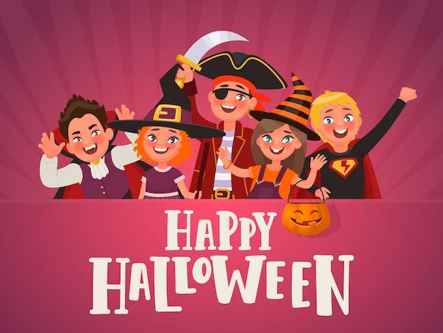 Affiche Pour La Fête Des Enfants D'halloween. Enfants Vêtus De Costumes D'halloween. Vecteur Premium