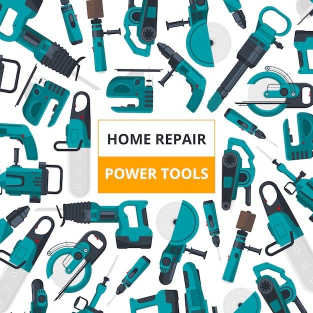 Affiche pour le marché des outils électriques. Vecteur Premium