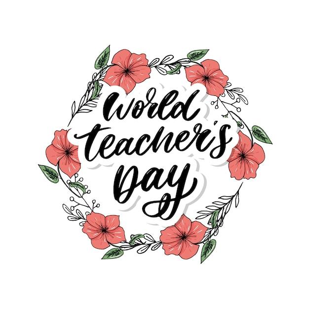 Affiche pour le pinceau de calligraphie de la journée mondiale des enseignants Vecteur Premium